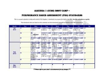 Algebra 1 (CCSS-PBA) Bootcamp Calendar
