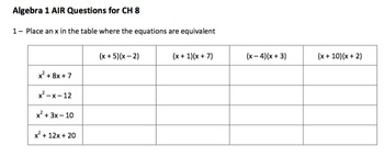 Algebra 1 Common Core (Air) Style Questions CH 8 and 9