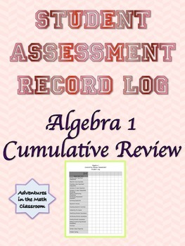 Algebra 1 Cumulative Review Assessment Student Record Log