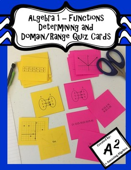 Algebra 1 - Determining and Domain/Range Function Quiz Cards