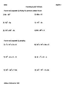 Factoring Greatest Common Factor ReTeach (algebra 1)