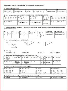Algebra 1 Final Exam Review Study Guide Spring 2008