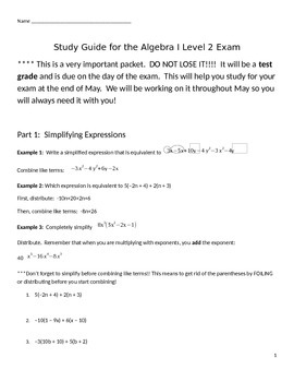 Algebra 1 Common Core Final Exam Reteach and Review End of