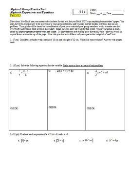 Algebra 1 Group/Practice Test: Algebraic Expressions & Equ