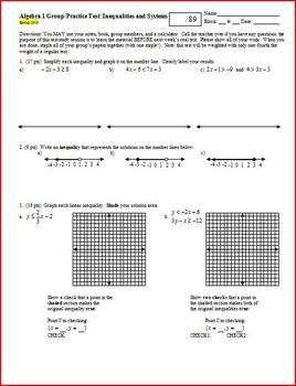 Algebra 1 Group/Practice Test: Inequalities and Systems Sp