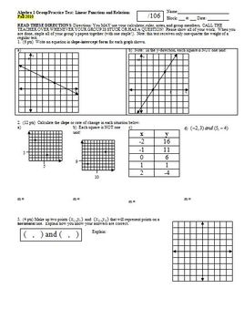 Algebra 1 Group/Practice Test: Linear Functions and Relati