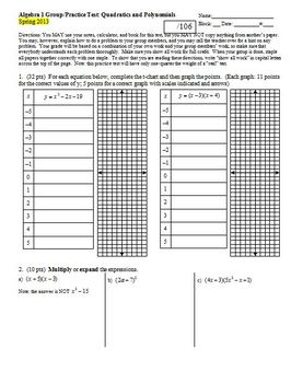 Algebra 1 Group/Practice Test: Quadratics and Polynomials