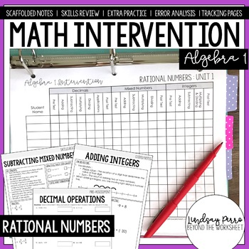 Algebra 1 Intervention Program : Rational Numbers Review Unit