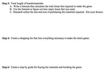 Algebra 1 - Performance Task - Design and Plan a Yard Game