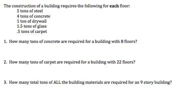 Algebra 1 Performance Task on Constructing a Building (Com