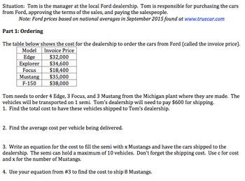 Algebra 1 Performance Task on Running a Car Dealership (Co