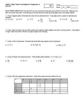 Algebra 1 Quiz: Numeric and Algebraic Computations Fall 20