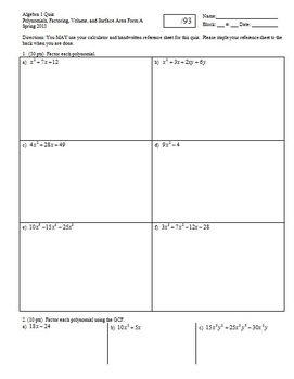 Algebra 1 Quiz Polynomials Factoring Volume and Surface Ar