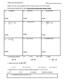 Algebra 1 Quiz Solving Equations