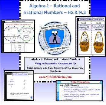 Algebra 1 - Rational vs. Irrational Numbers - HS.N.RN.3 -