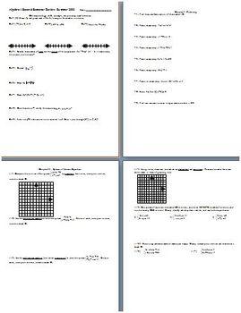 Algebra 1 Second Semester Review Summer 2002