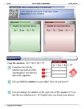 Algebra 1 (2.06): Simplify and Solve Multistep Equations