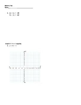 Algebra 1 Systems Test