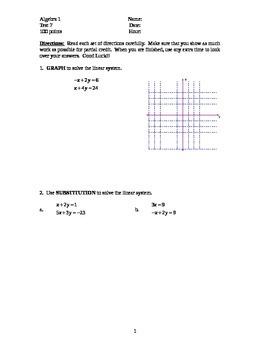 Algebra 1 TEST Chapter 7