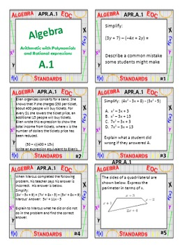 Algebra 1 Review Task Cards - Algebra Domain