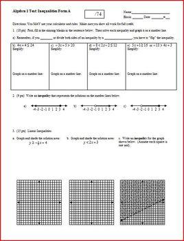 Algebra 1 Test: Inequalities  - 2 versions - 2 pages each