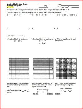 Algebra 1 Test: Inequalities and Systems Spring 2010 - 2 v