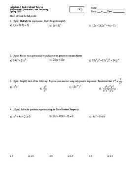 Algebra 1 Test: Polynomials Quadratics Factoring Spring 20