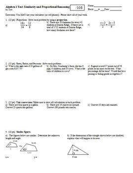 Algebra 1 Test Similarity and Proportional Reasoning Fall 2008
