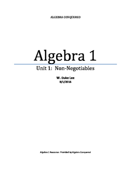 Algebra 1 - Unit 1 - Evaluating Expressions