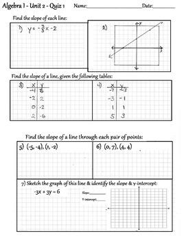 Algebra 1, Unit 2, Quiz 1, pg 1