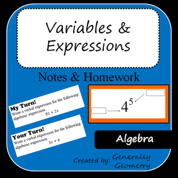 Algebra 1 Variables and Expressions Notes and Homework