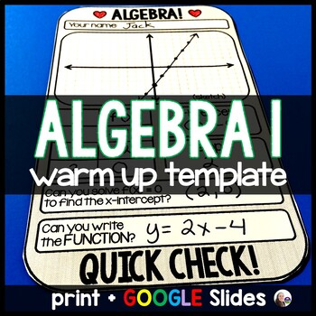 Algebra 1 Warm-up Template