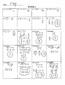 Algebra 1 Weekly Warm Ups / Starters ANSWER KEYS