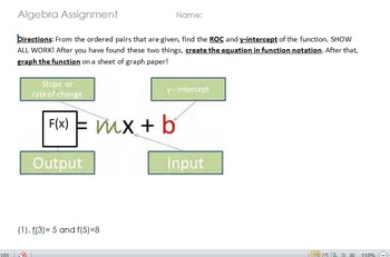 Algebra 1- Writing Equations in Function Notation with two