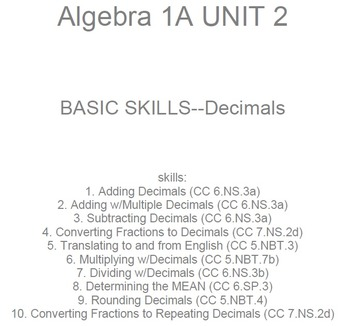 HS [Remedial] Algebra 1A UNIT 2: Decimal BASICS (5 workshe