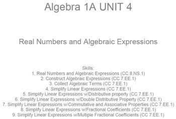 HS [Remedial] Algebra 1A UNIT 4: Real Nos;Alg. Expressions
