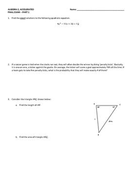 Algebra 2 Cumulative Final Exam