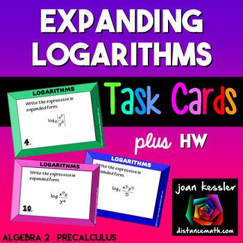 Expanding Logarithms Task Cards  plus HW