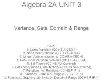 HS Algebra 2A UNIT 3: Variation, Sets, Domain&Range (5 wrk