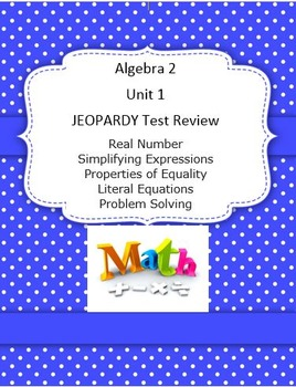 Algebra 2 Unit 1 Test Review Jeopardy Game Equations