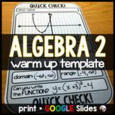 Algebra 2 Warm-up Template