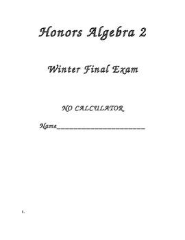 Algebra 2 Winter Final