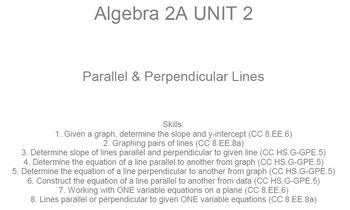 HS Algebra 2A UNIT 2: Parallel & Perpendicular Lines (5 wr