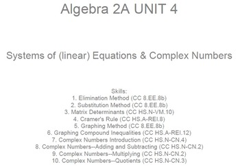 HS Algebra 2A UNIT 4: Systems of Equations;Complex Numbers
