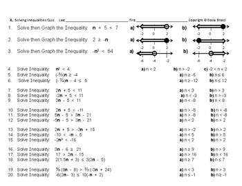 Algebra 31: Quiz  Solving Inequalities
