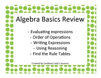 Algebra Basics Review