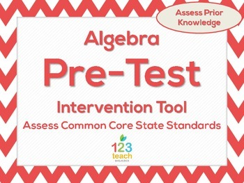 Algebra Beginning of the Year Common Core Pre-Assessment &