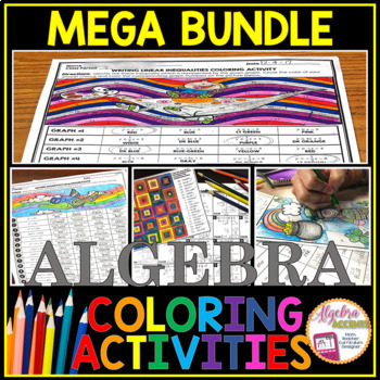 Algebra 1 Curriculum: Coloring Activities MEGA Bundle