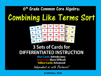 Algebra:Combining Like Terms Sort