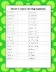 Algebra Common Core Sprint 4: One and Two Step Equations